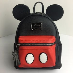LOUNGEFLY Faux Leather Mickey Mouse Mini Backpack